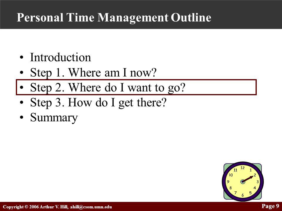 Copyright © 2006 Arthur V. Hill, ahill@csom.umn.edu Page 9 Personal Time Management Outline Introduction Step 1. Where am I now? Step 2. Where do I wa