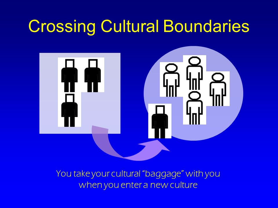 Crossing Cultural Boundaries You take your cultural baggage with you when you enter a new culture