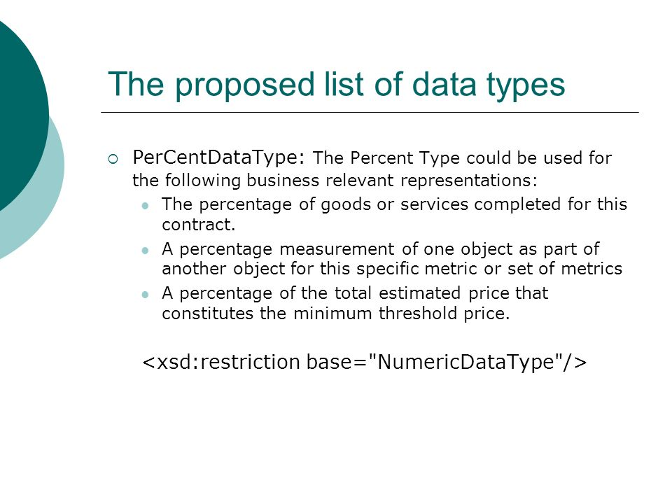 The proposed list of data types PerCentDataType: The Percent Type could be used for the following business relevant representations: The percentage of