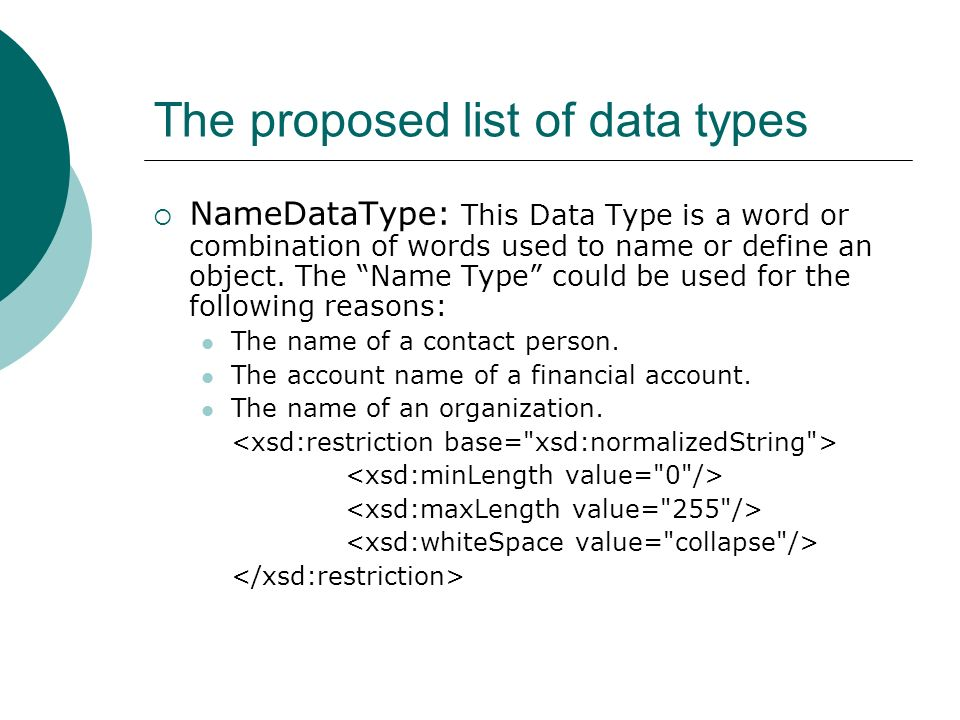 The proposed list of data types RatioDataType: implemented in 19 elements/types.
