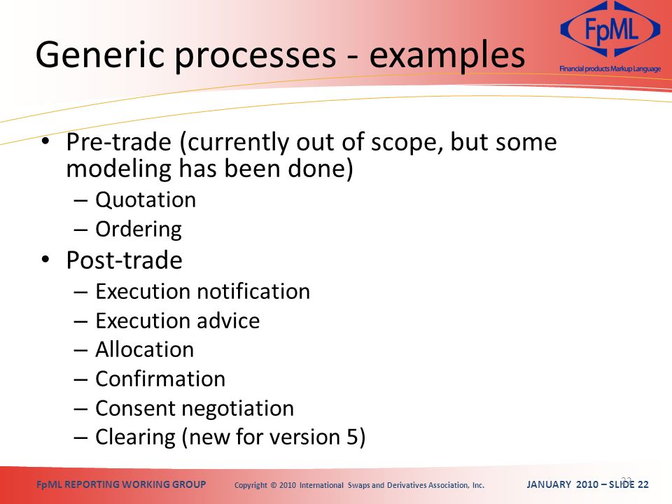 FpML REPORTING WORKING GROUP Copyright © 2010 International Swaps and Derivatives Association, Inc. JANUARY 2010 – SLIDE 22 Generic processes - exampl