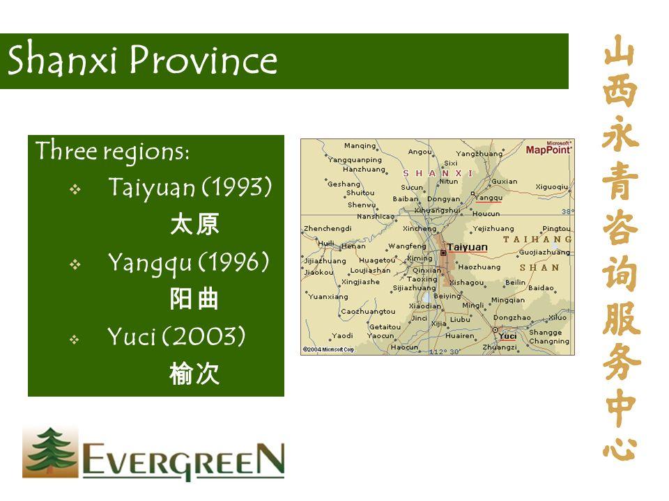 Shanxi Province Three regions: Taiyuan (1993) Yangqu (1996) Yuci (2003)