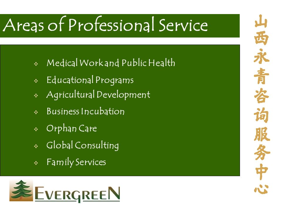 Medical Work and Public Health Educational Programs Agricultural Development Business Incubation Orphan Care Global Consulting Family Services Areas of Professional Service