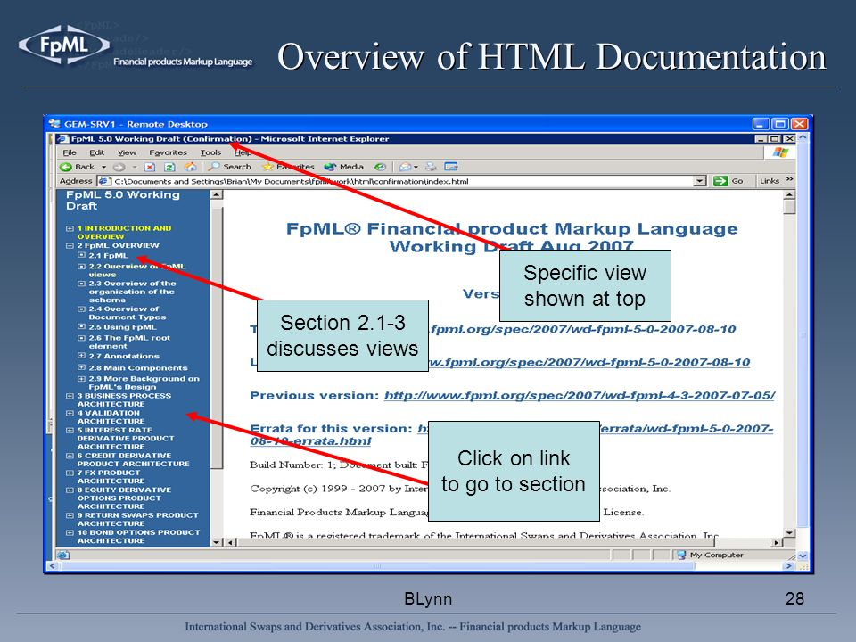 BLynn28 Overview of HTML Documentation Section 2.1-3 discusses views Click on link to go to section Specific view shown at top