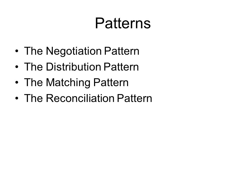 Patterns The Negotiation Pattern The Distribution Pattern The Matching Pattern The Reconciliation Pattern