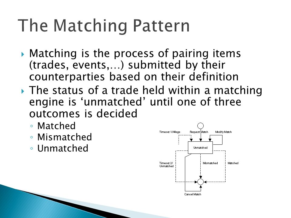 Matching is the process of pairing items (trades, events,…) submitted by their counterparties based on their definition The status of a trade held within a matching engine is unmatched until one of three outcomes is decided Matched Mismatched Unmatched