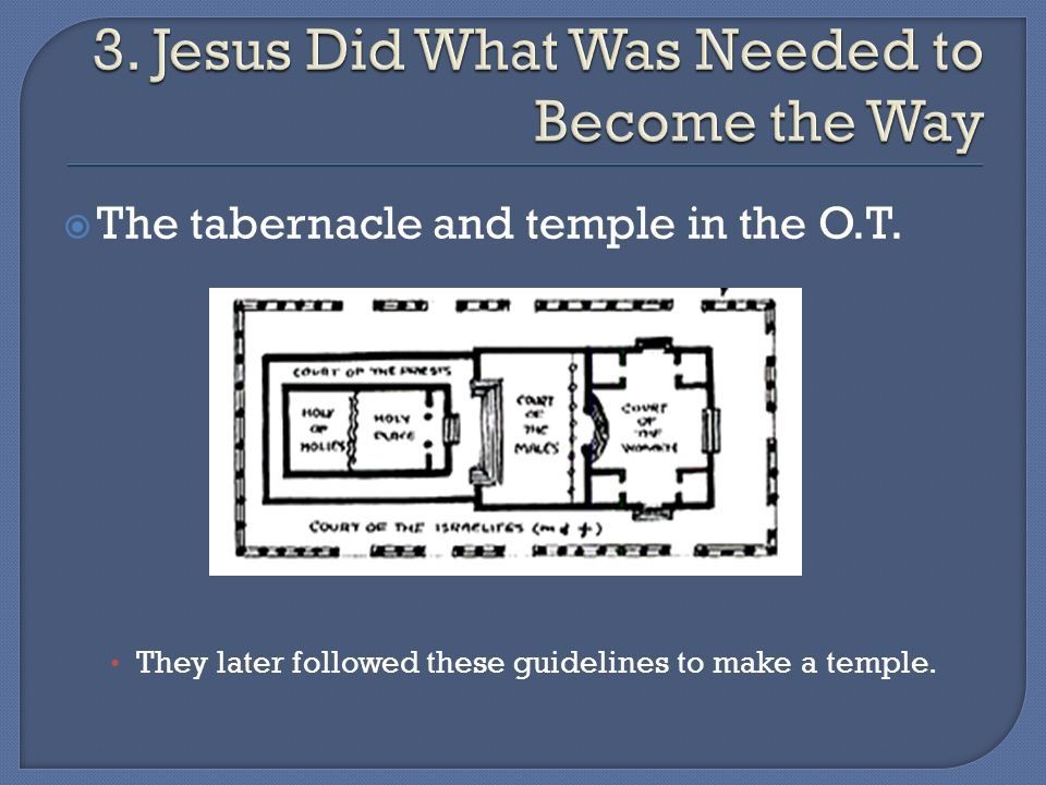 The tabernacle and temple in the O.T. They later followed these guidelines to make a temple.