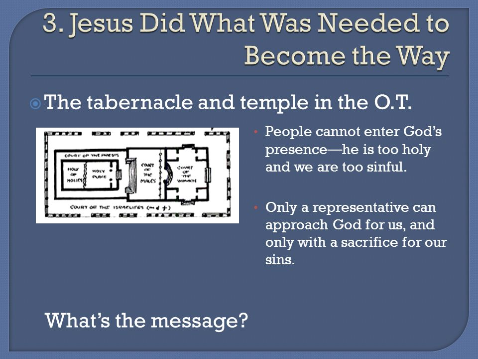 The tabernacle and temple in the O.T. People cannot enter Gods presencehe is too holy and we are too sinful. Only a representative can approach God fo