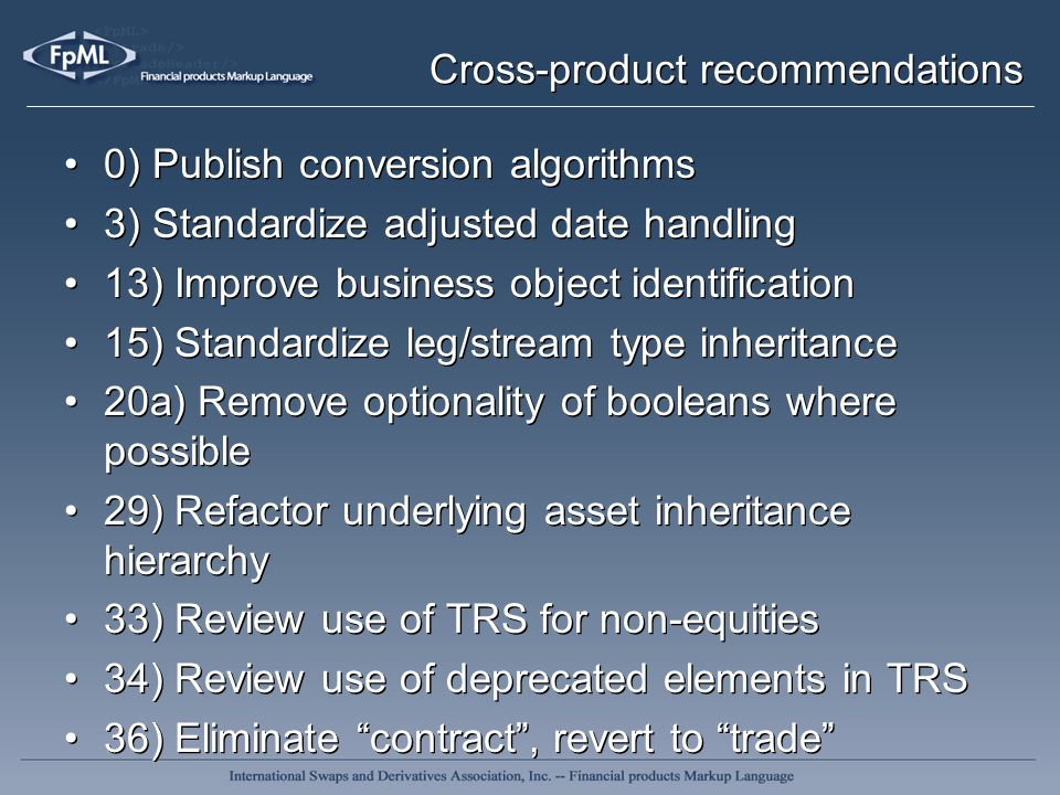 Cross-product recommendations 0) Publish conversion algorithms 3) Standardize adjusted date handling 13) Improve business object identification 15) St