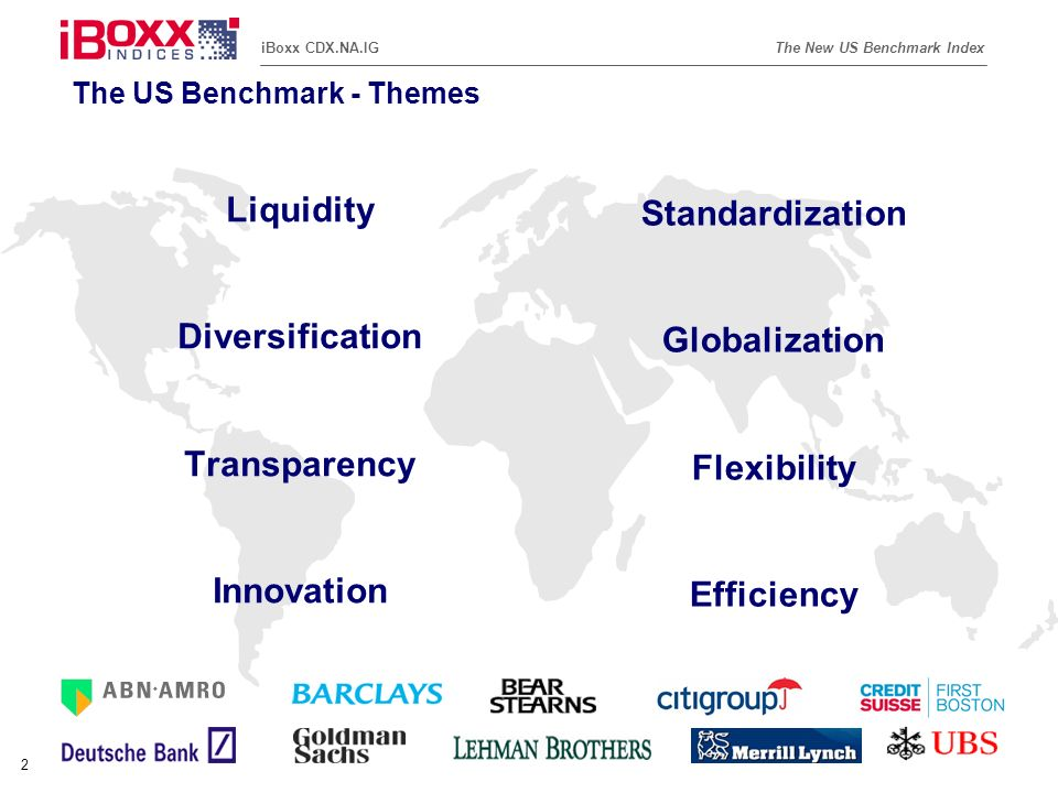 Reference (apr02) The New US Benchmark IndexiBoxx CDX.NA.IG 13 iBoxx CDX.NA.IG - Sector Trading Reference Portfolios (1) * Weightings are rounded to two decimal places.