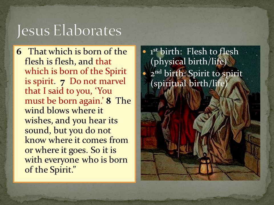 6 That which is born of the flesh is flesh, and that which is born of the Spirit is spirit.