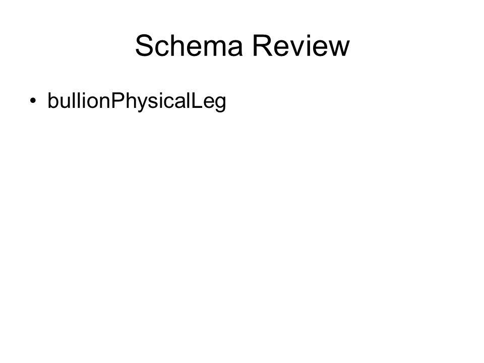 Schema Review bullionPhysicalLeg