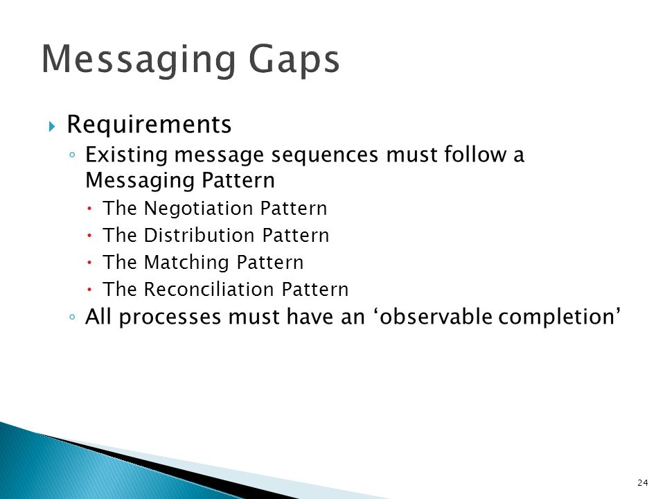 24 Requirements Existing message sequences must follow a Messaging Pattern The Negotiation Pattern The Distribution Pattern The Matching Pattern The Reconciliation Pattern All processes must have an observable completion