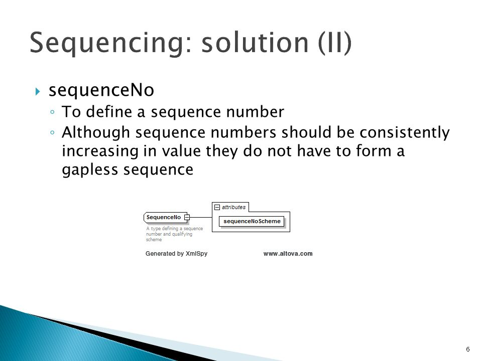 6 sequenceNo To define a sequence number Although sequence numbers should be consistently increasing in value they do not have to form a gapless sequence
