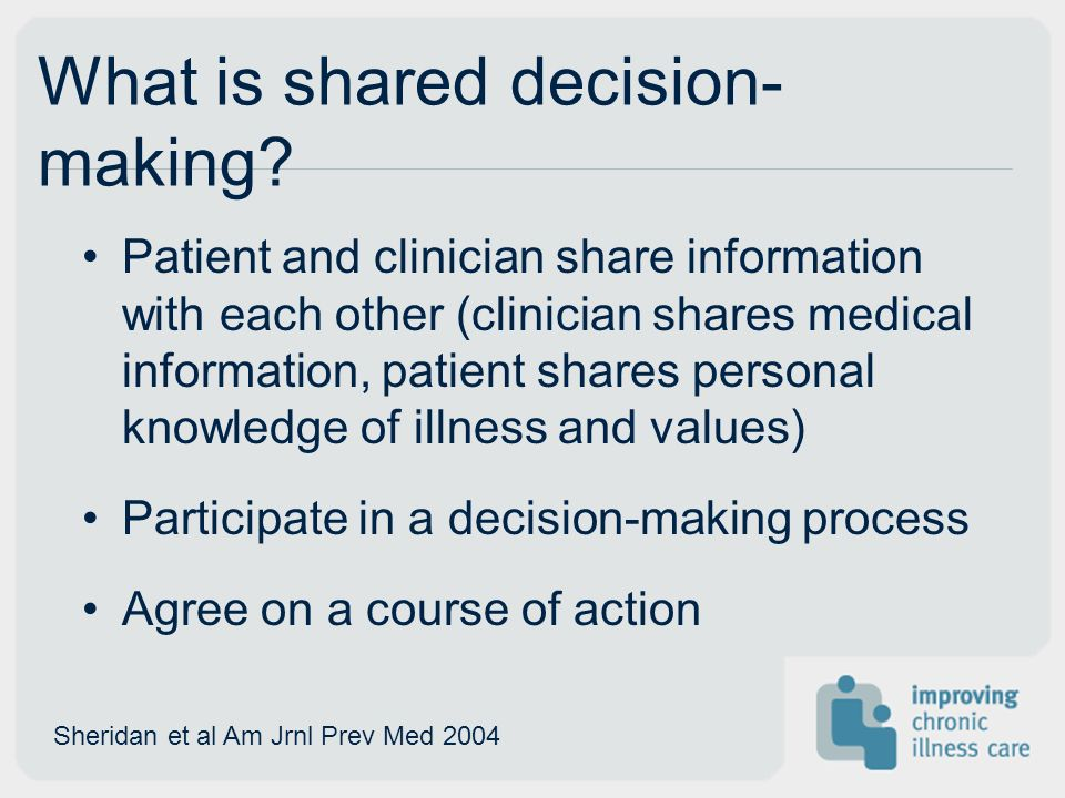 What is shared decision- making.