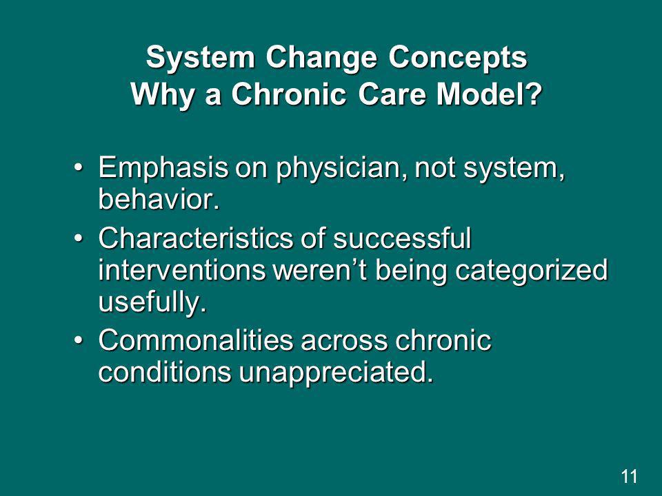 11 System Change Concepts Why a Chronic Care Model.