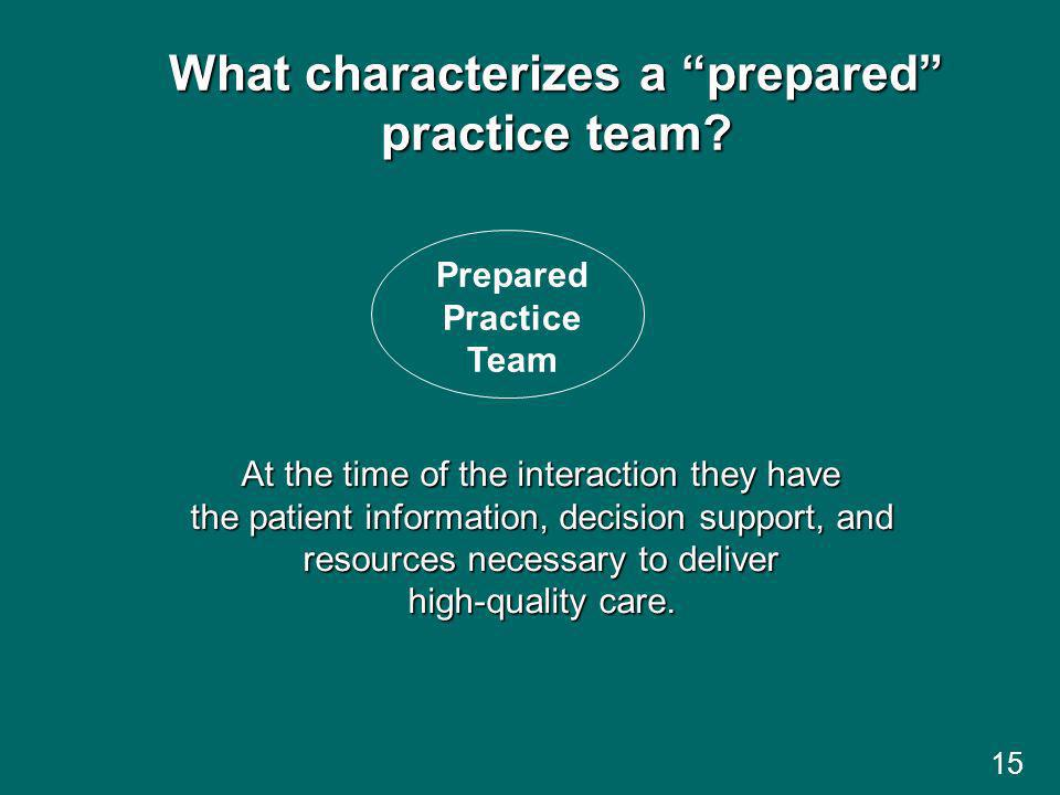 15 What characterizes a prepared practice team.