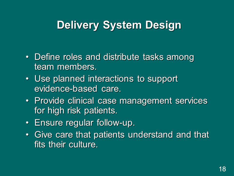 18 Delivery System Design Define roles and distribute tasks among team members.Define roles and distribute tasks among team members.
