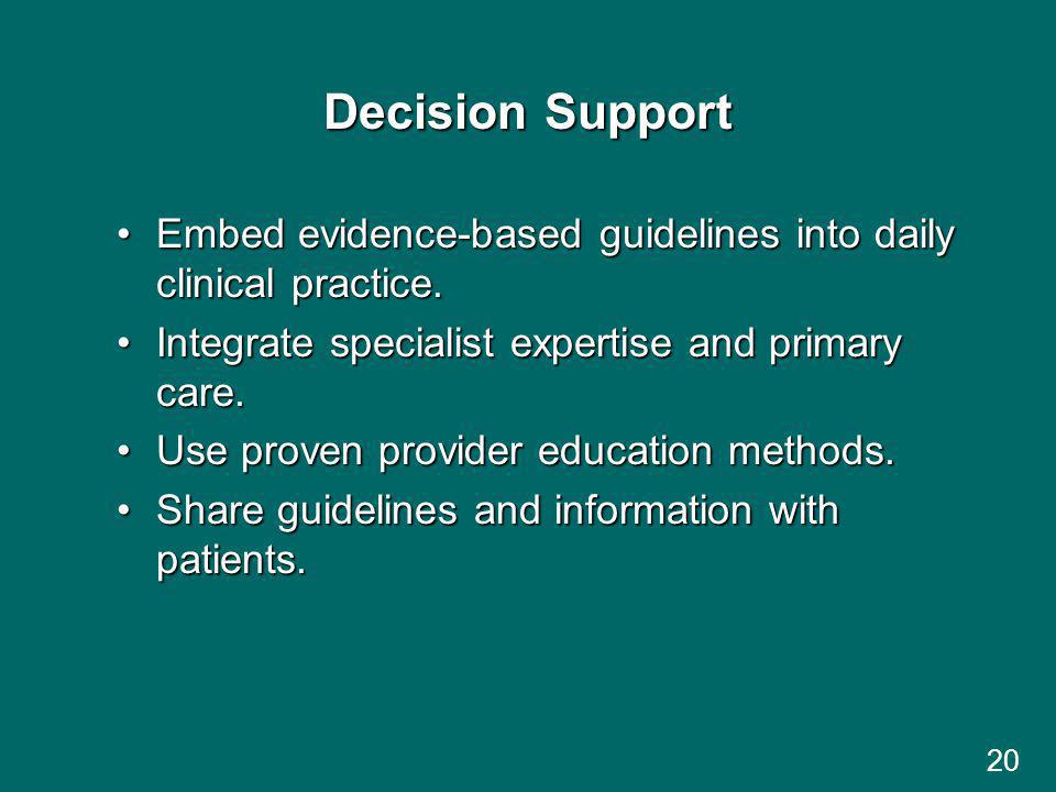 20 Decision Support Embed evidence-based guidelines into daily clinical practice.Embed evidence-based guidelines into daily clinical practice.