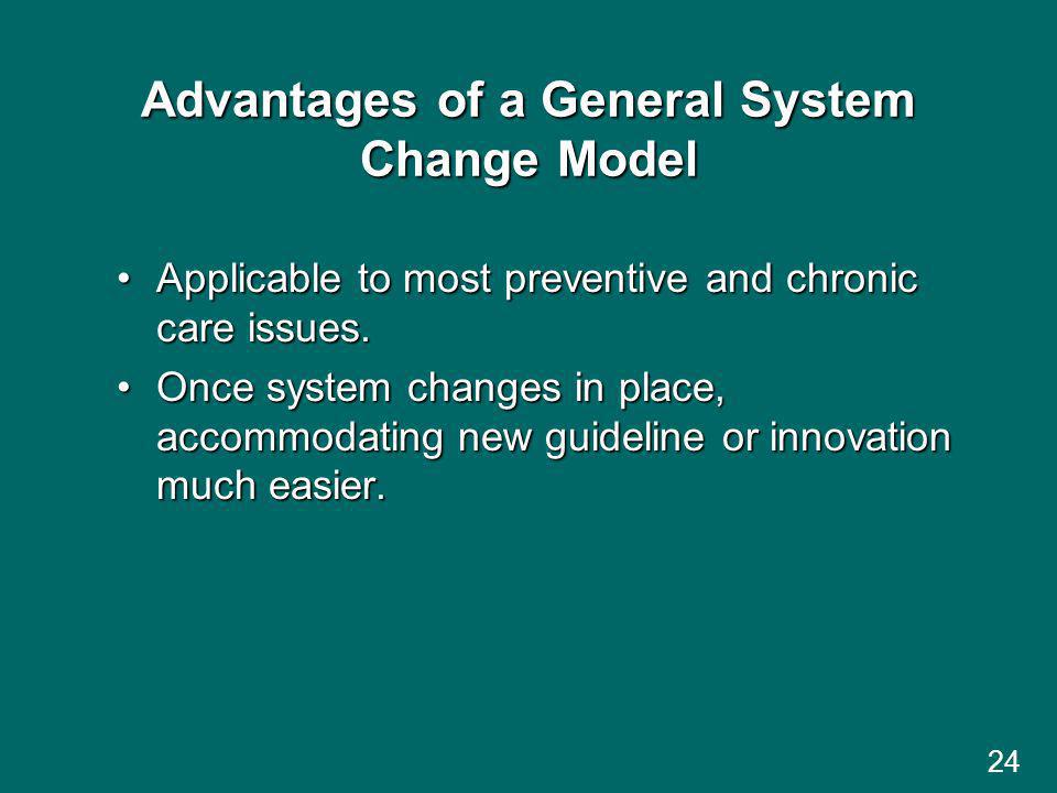 24 Advantages of a General System Change Model Applicable to most preventive and chronic care issues.Applicable to most preventive and chronic care issues.
