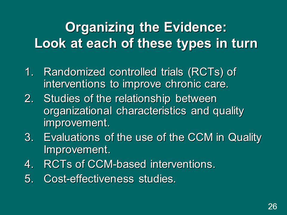 26 Organizing the Evidence: Look at each of these types in turn 1.Randomized controlled trials (RCTs) of interventions to improve chronic care.