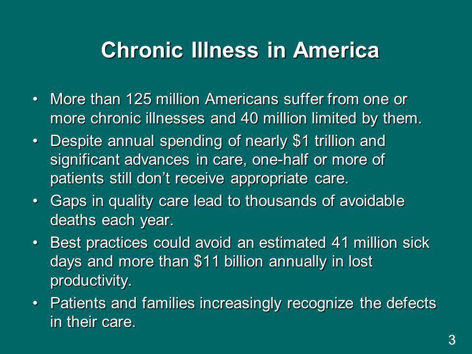 3 Chronic Illness in America More than 125 million Americans suffer from one or more chronic illnesses and 40 million limited by them.More than 125 million Americans suffer from one or more chronic illnesses and 40 million limited by them.