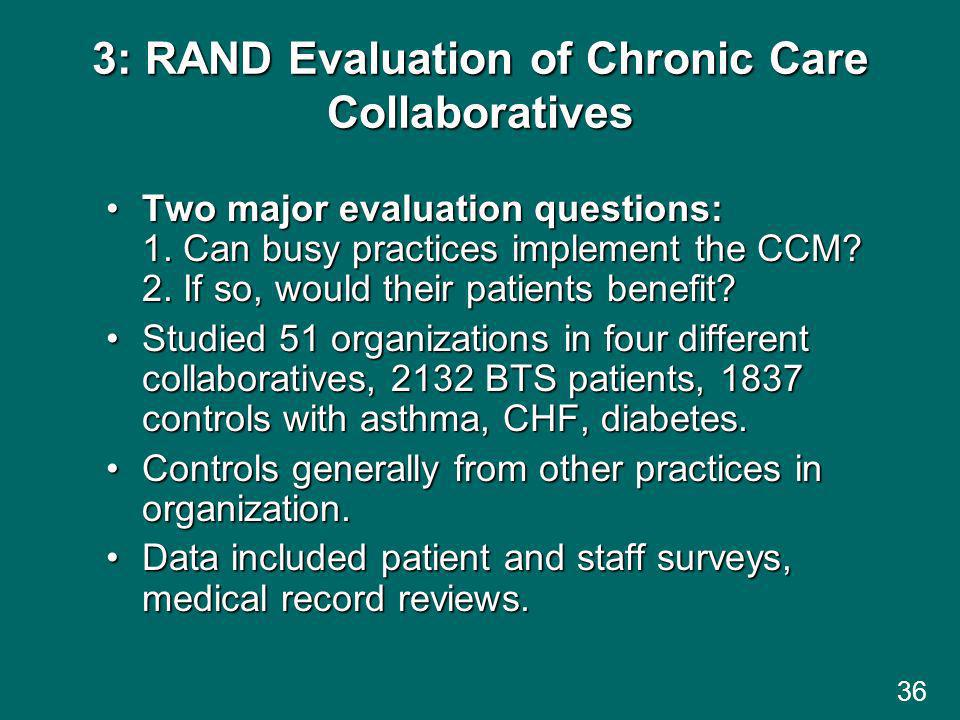 36 3: RAND Evaluation of Chronic Care Collaboratives Two major evaluation questions: 1.