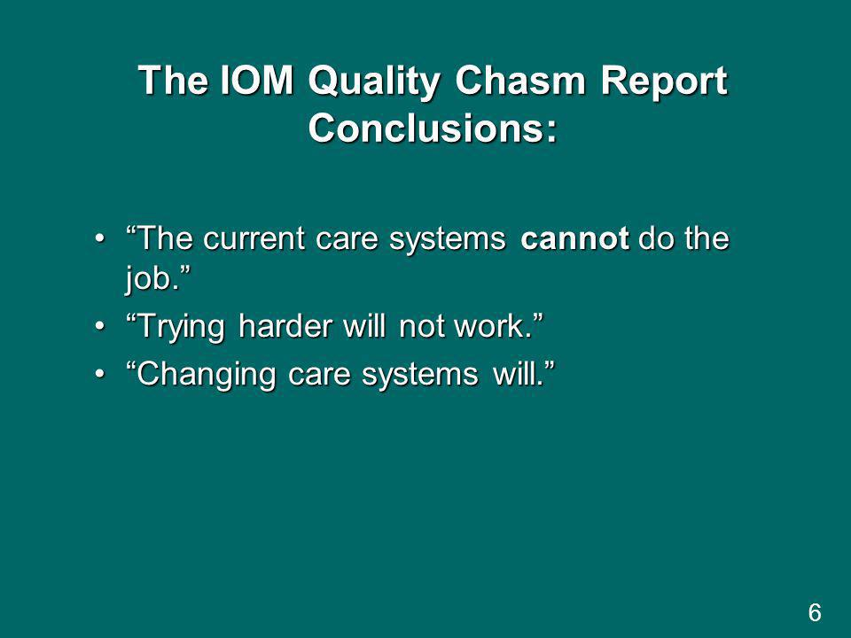 6 The IOM Quality Chasm Report Conclusions: The current care systems cannot do the job.The current care systems cannot do the job.