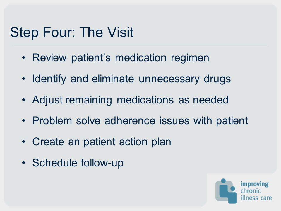 Review patients medication regimen Identify and eliminate unnecessary drugs Adjust remaining medications as needed Problem solve adherence issues with patient Create an patient action plan Schedule follow-up Step Four: The Visit