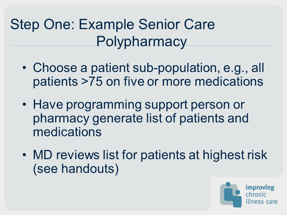 Step Two: Patient Outreach RN/LPN/MA checks to see if patient is on any registries Have PCR call patient and explain the need for planned visit Allow patient to choose day and time for visit Ask patient to bring in bag of all medications they are taking (including OTCs and herbals)