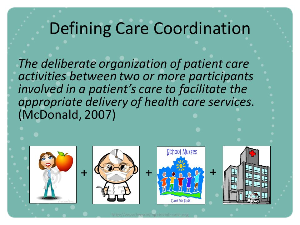 http://www.improvingchroniccare.org Defining Care Coordination The deliberate organization of patient care activities between two or more participants