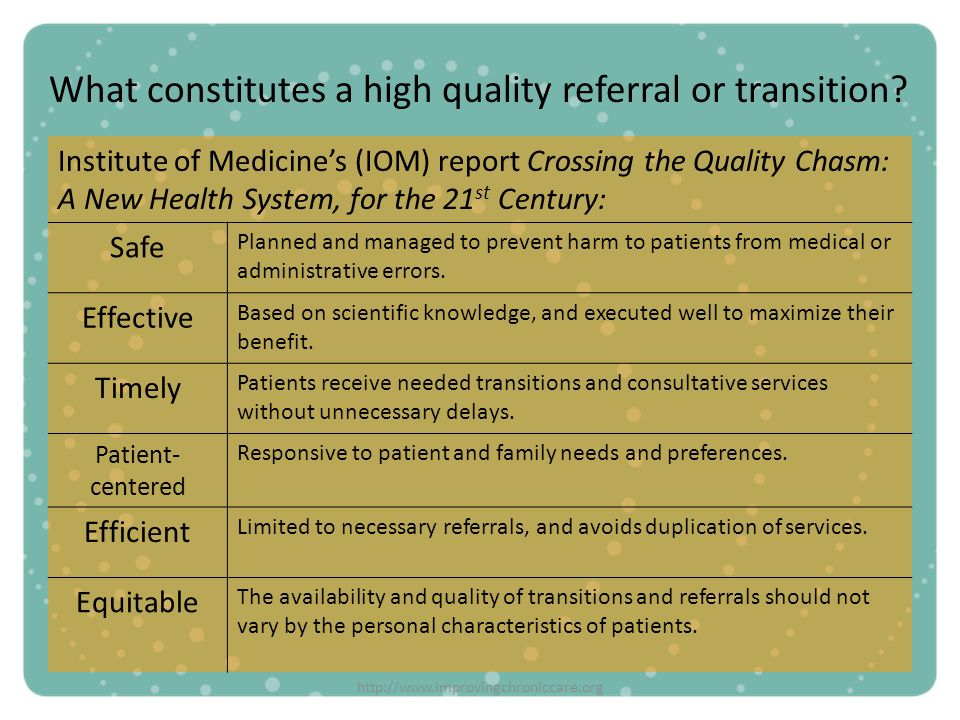 http://www.improvingchroniccare.org What constitutes a high quality referral or transition? Institute of Medicines (IOM) report Crossing the Quality C