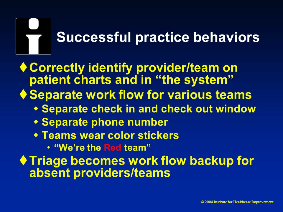 © 2004 Institute for Healthcare Improvement Successful practice behaviors Correctly identify provider/team on patient charts and in the system Separat
