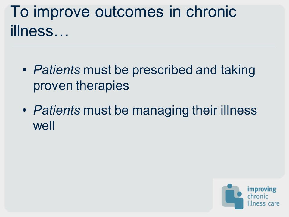 To improve outcomes in chronic illness… Patients must be prescribed and taking proven therapies Patients must be managing their illness well