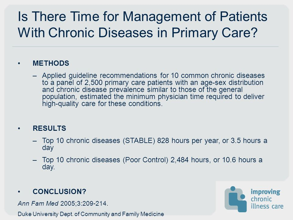 Is There Time for Management of Patients With Chronic Diseases in Primary Care? METHODS –Applied guideline recommendations for 10 common chronic disea