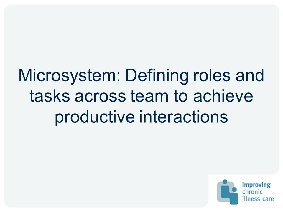 Microsystem: Defining roles and tasks across team to achieve productive interactions