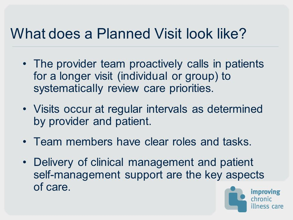What does a Planned Visit look like? The provider team proactively calls in patients for a longer visit (individual or group) to systematically review