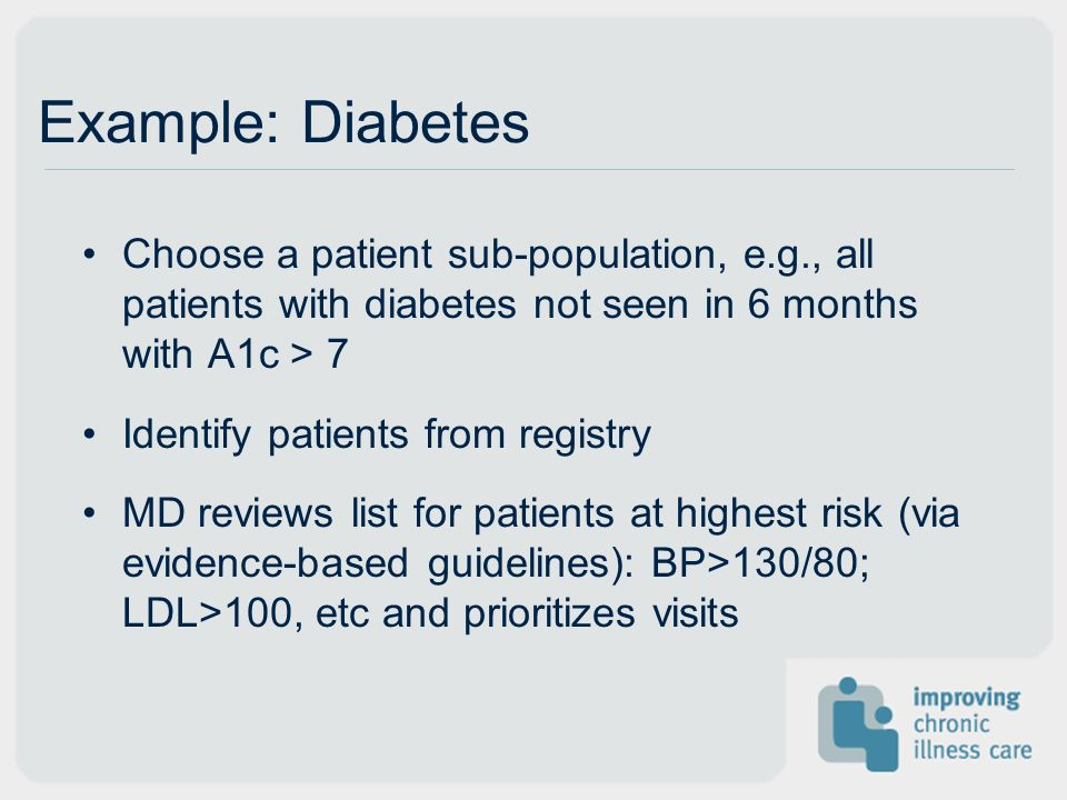 Example: Diabetes Choose a patient sub-population, e.g., all patients with diabetes not seen in 6 months with A1c > 7 Identify patients from registry