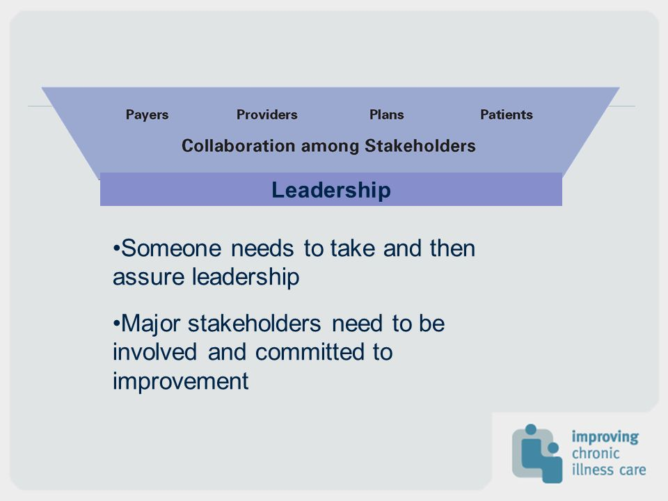 Someone needs to take and then assure leadership Major stakeholders need to be involved and committed to improvement Leadership