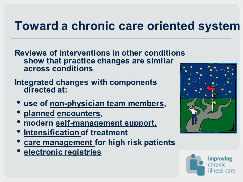 Toward a chronic care oriented system Reviews of interventions in other conditions show that practice changes are similar across conditions Integrated