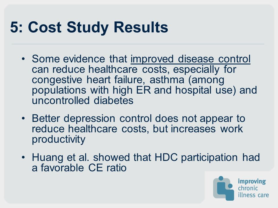 5: Cost Study Results Some evidence that improved disease control can reduce healthcare costs, especially for congestive heart failure, asthma (among