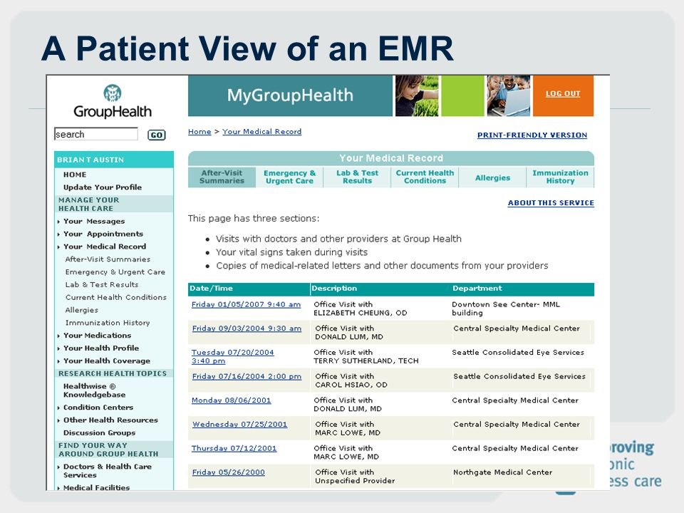 A Patient View of an EMR