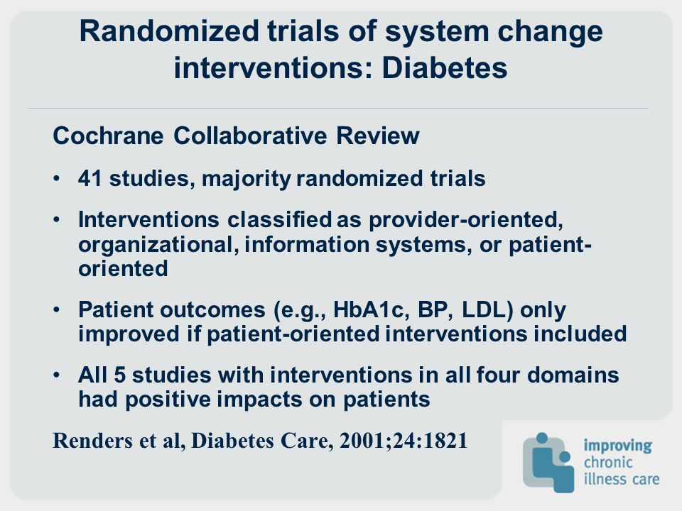Randomized trials of system change interventions: Diabetes Cochrane Collaborative Review 41 studies, majority randomized trials Interventions classifi