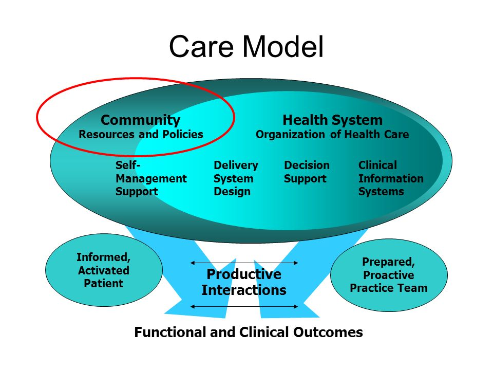 Care Model Prepared, Proactive Practice Team Informed, Activated Patient Community Resources and Policies Health System Organization of Health Care Self- Management Support Delivery System Design Decision Support Clinical Information Systems Productive Interactions Functional and Clinical Outcomes