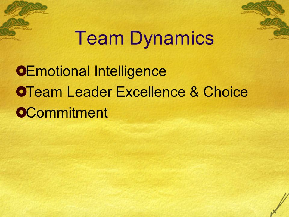 Team Dynamics Emotional Intelligence Team Leader Excellence & Choice Commitment