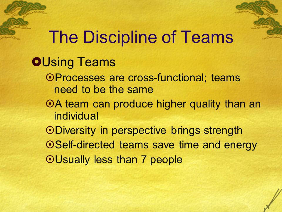 The Discipline of Teams Using Teams Processes are cross-functional; teams need to be the same A team can produce higher quality than an individual Div