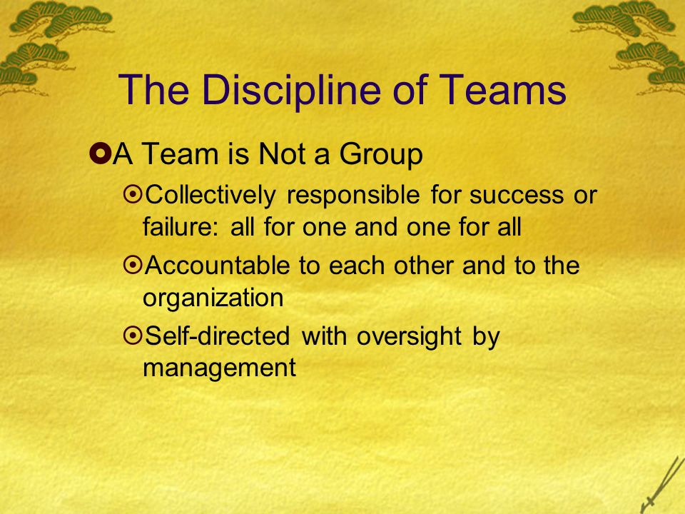The Discipline of Teams A Team is Not a Group Collectively responsible for success or failure: all for one and one for all Accountable to each other a
