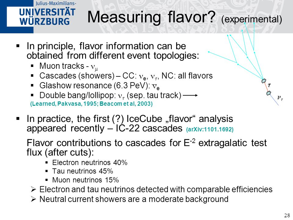 28 Measuring flavor? (experimental) In principle, flavor information can be obtained from different event topologies: Muon tracks - Cascades (showers)