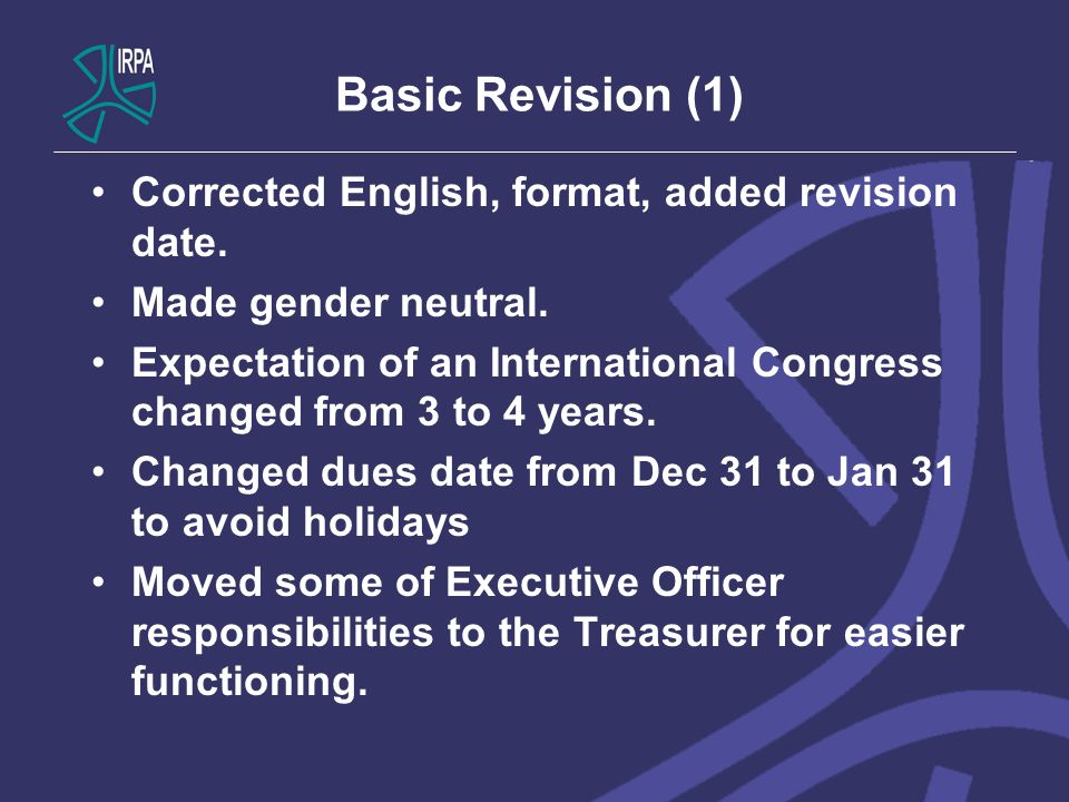 Basic Revision (1) Corrected English, format, added revision date. Made gender neutral. Expectation of an International Congress changed from 3 to 4 y