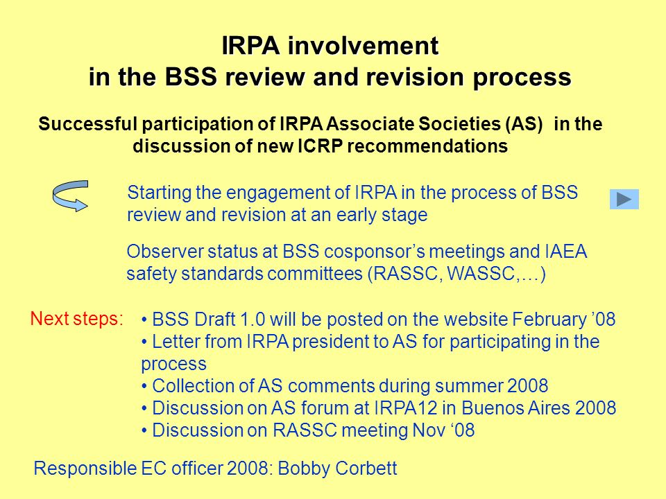 IRPA involvement in the BSS review and revision process Successful participation of IRPA Associate Societies (AS) in the discussion of new ICRP recommendations Starting the engagement of IRPA in the process of BSS review and revision at an early stage Observer status at BSS cosponsors meetings and IAEA safety standards committees (RASSC, WASSC,…) Next steps: BSS Draft 1.0 will be posted on the website February 08 Letter from IRPA president to AS for participating in the process Collection of AS comments during summer 2008 Discussion on AS forum at IRPA12 in Buenos Aires 2008 Discussion on RASSC meeting Nov 08 Responsible EC officer 2008: Bobby Corbett